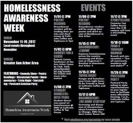 Homelessness awareness schedule